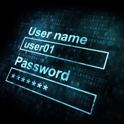 Security conceprt: Login form on digital sreen - stock illustration