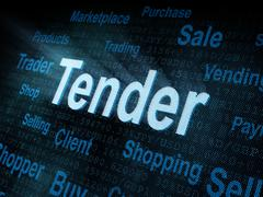Stock Illustration of Pixeled word Tender on digital screen