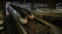 High Speed Trains at Madrid Atocha Railway Station Stock Footage