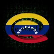 e-mail address at symbol with venezuela flag on hex illustration - stock illustration