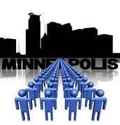 Riviä ihmisiä Minneapolis horisonttiin kuva Piirros