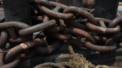 Closeup shot of Steel chain Stock Footage
