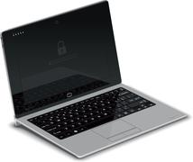 Tablet Left Side View with Silver Keyboard Dock - stock illustration