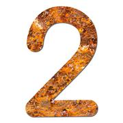 font rusty steel texture numeric two 2 - stock photo