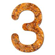 Font rusty steel texture numeric three 3 Stock Photos