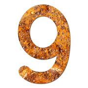 font rusty steel texture numeric nine 9 - stock photo
