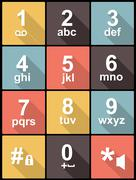 Stock Illustration of phone keypad in flat design for web and mobile