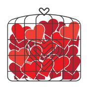 Bird Cage of Love - stock illustration