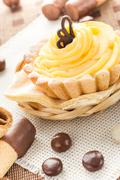 sweet cream cake chocolate wafers candy - stock photo