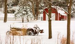 Winter farm scene Stock Photos