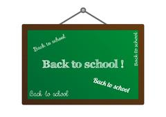 """Blackboard with """"Back to school"""" texts Stock Illustration"""