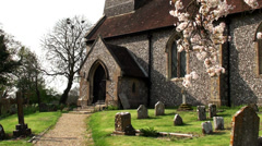Stock Video Footage of CHURCH DOOR & PATH