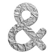 font aluminum foil texture ampersand sign - stock photo