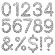 font aluminum foil texture numeric 0 - 9 - stock photo