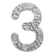 Font aluminum foil texture numeric 3 Stock Photos
