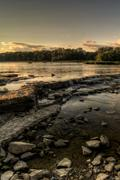 river rapids sunset - stock photo