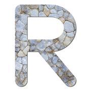 Font stone wall texture alphabet r Stock Photos