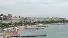 Panoramic view of beach in Cannes Stock Footage