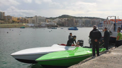 Speed boat mooring Stock Footage