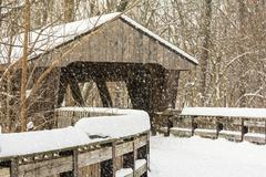 Stock Illustration of snowy winter covered bridge painting