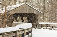 Stock Illustration of snowy winter covered bridge painting