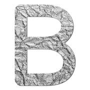 Stock Photo of font aluminum foil texture alphabet b