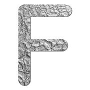 font aluminum foil texture alphabet f - stock photo