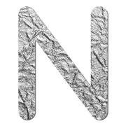 font aluminum foil texture alphabet n - stock photo
