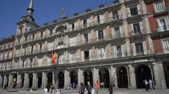 Place Reial , Royal Plaza, Plaza Major - Barcelona Spain Stock Footage