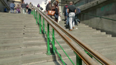 People climbing and descending the stairs Stock Footage