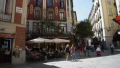 Sidewalk Cafe in Urban Barcelona Catalona Stock Footage