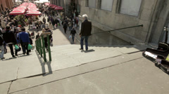 People on the stairs at Dolac market, Zagreb Stock Footage