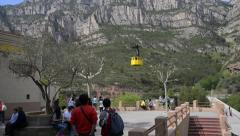Cable Car descends to Station at Montserrat - Spain Stock Footage