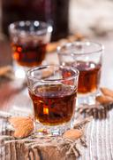 some amaretto shots - stock photo