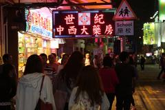 Night Shopping in Neon Lit Kowloon, Hong Kong, China - stock photo