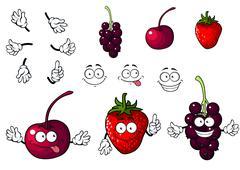 cartoon cherry, strawberry and blackberry - stock illustration