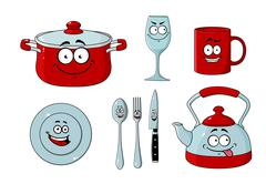 Cartoon dishware and kitchenware set Stock Illustration