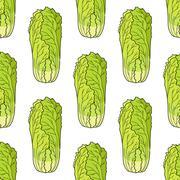Seamless pattern of chinese lettuce Stock Illustration