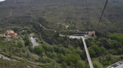 Aerial Cable Car Ride Up Montserrat - near Barcelona Stock Footage