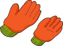 orange work gloves - stock illustration