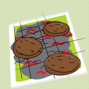 Stock Illustration of grilling burgers