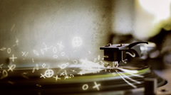 VJ Loop - Turntable needle generates glowing drum notes and light streaks Stock Footage