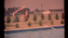 Diving board, rural home party - stock footage