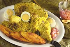 Traditional peruvian food called juane Stock Photos
