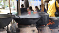 Rural cooking in market, Philippines Stock Footage