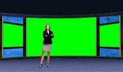 Business 015 TV Studio Set - Virtual Green Screen Background PSD PSD Template