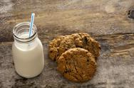 Stock Photo of milk and cookies childhood treat