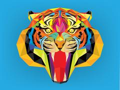 tiger head with geometric style - stock illustration