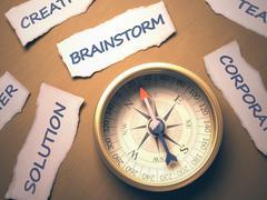 Compass Brainstorm - stock illustration