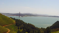 San Francisco Golden Gate Bridge ocean view time lapse pan HD 1920x1080 Stock Footage